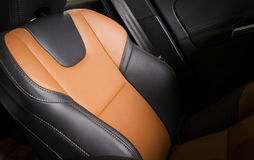 Modern sport car  red leather interior Stock Photo