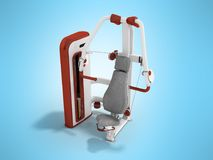 Modern sport exercise machine for the body perspective 3d render. On a blue background Royalty Free Stock Photo