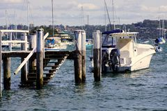 Modern Sport Fishing Boat Moored in Double Bay, Sydney, Australia Royalty Free Stock Photo