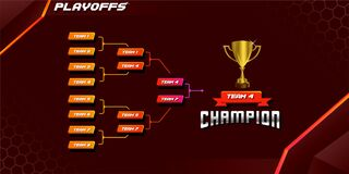 Free Modern Sport Game Tournament Championship Contest Bracket Board Vector With Gold Champion Trophy Prize Icon Illustration Backgroun Stock Photo - 205125320