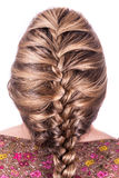 Modern sport hairstyle. Beauty sporting hairstyle rear view isolated on white Stock Photo