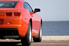 Modern Sports Car. A modern sports car parked at the beach Royalty Free Stock Photography