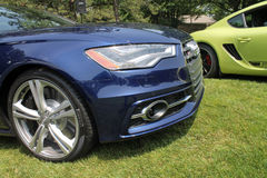 Modern sports car front detail. Front detail showing jeweled headlamp. modern blue Audi S4 performance sedan. Belle Macchine d'Italia car event, Pennsylvania Royalty Free Stock Photography