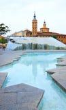 Modern springbrunn i Saragossa Arkivbilder
