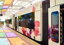 Modern spårvagnplattform Royaltyfria Bilder