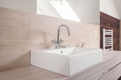 Modern square ceramic sink Stock Photo