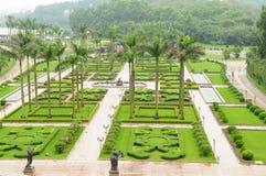 The modern square garden Stock Photo