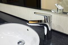 Modern square sink in the bathroom, kitchen stock image