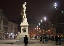 Modern square statues. Bucharest center at universitate square stock photo