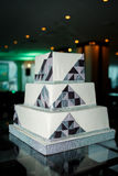 Modern square wedding cake in high tech style. An interesting and beautiful Modern square wedding cake in high tech style Stock Photo