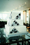 Modern square wedding cake in high tech style. An interesting and beautiful Modern square wedding cake in high tech style Royalty Free Stock Photos