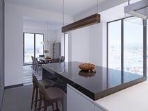 Modern stångräknare i modernt kök med äta middag område och stora panorama- fönster vektor illustrationer