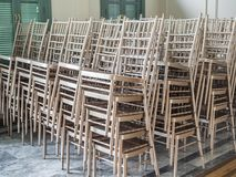 Modern stacked silver chairs stock photo
