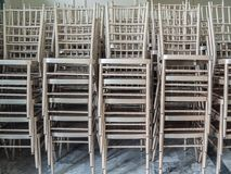 Modern stacked silver chairs royalty free stock photography
