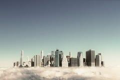 Modern stad i himlen royaltyfria foton