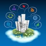 Modern stad med kommunikationssymboler Arkivbild