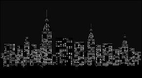 Modern stad på natten. Fotografering för Bildbyråer