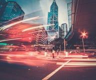 Modern stad på natten royaltyfri fotografi