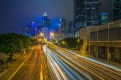 Modern stad på natten, Hong Kong, Kina Royaltyfria Bilder
