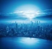 Modern stad på solnedgången, shanghai horisont Arkivfoton