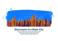 modern stad skyskrapor också vektor för coreldrawillustration Royaltyfri Bild