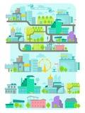 Modern stad, vektoruppsättning Royaltyfria Bilder