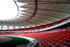 A modern stadium. With circles of domes, stand chairs,tracks,race tracks Stock Photo