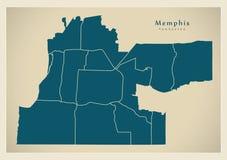 Modern stadsöversikt - Memphis Tennessee stad av USA med neighbo Arkivbilder
