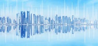 Modern stads- horisont Globala kommunikationer och nätverkande E-affär och e-bankrörelsen arkivfoto
