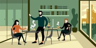Modern stads- inre för kontor för ecogräsplanworkspace stock illustrationer