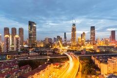 Modern stads- plats av tianjin i skymning Arkivfoto