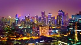 Modern stads- stadshorisont, Bangkok, Thailand Royaltyfria Foton