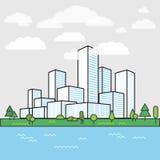 Modern stadsdistrict Gebouwen in perspectief royalty-vrije illustratie