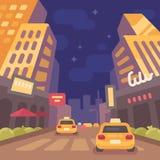 Modern stadsgata för natt med taxibilar Tappningloppaffisch royaltyfri illustrationer