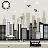 Modern stadsgata i svartvitt Arkivfoto