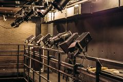 Modern stage theater floodlights and projector illumination equipment.  royalty free stock image