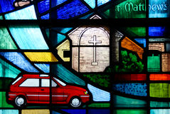 Modern stained glass featuring a car Stock Photo