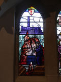 Modern Stained Glass window in Church in Irlam Salford Lancashire Stock Images