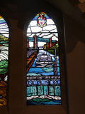 Modern Stained Glass window in Church in Irlam Salford Lancashire Stock Image