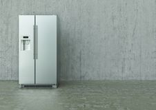 Modern Stainless Steel Refrigerator on a concrete wall and floor - 3D Rendering stock images