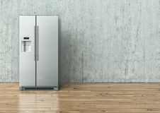 Modern Stainless Steel Refrigerator on a concrete wall and on a wooden floor - 3D Rendering. Modern Stainless Steel Refrigerator on a concrete wall and on a royalty free stock photography