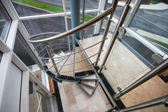 Modern stainless steel staircase. Royalty Free Stock Photography