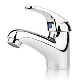 Modern stainless steel tap. Closeup of water-supply faucet mixer for water isolated on white with clipping path Royalty Free Stock Photo