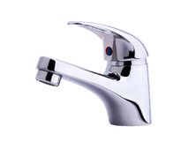 Modern stainless steel tap. Isolated. Royalty Free Stock Photography