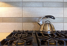 Modern Stainless Tea Kettle On Stove Royalty Free Stock Image