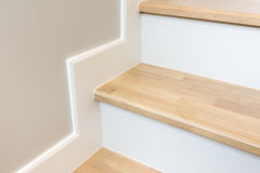 modern stair design with wooden tread and white riser Royalty Free Stock Photos