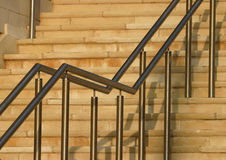 Modern Stair Rails. Stainless Steel Railings on Purbeck stone steps stock images