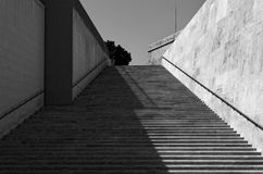 Modern staircase in Black and White. Valletta, Malta. Modern staircase in Black and White. This staircase is located in Valletta near City Gate so-called royalty free stock photography