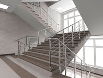 Modern staircase with stained-glass window Stock Photos