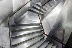 Gray modern stairs with metal surface stock image